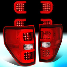 FOR 2009-2014 FORD F-150 DUAL LED BAR TUBE TAIL LIGHT BRAKE LAMPS(CHROME/RED)