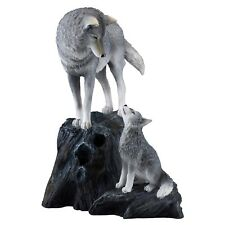 "Wolf Mother With Cub Pup Figurine Statue 9.25"" High Detailed Polystone New!"