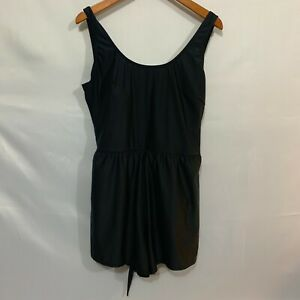 Lycra Womens Black Padded Bra Cups Strappy Belted Romper Swimming Dress Size 20