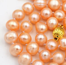 """New Natural pink 9-10mm akoya freshwater pearl necklace 18"""" Gold plating Clasp"""