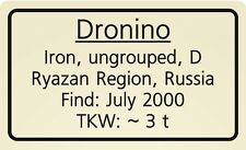 Meteorite label Dronino