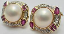 Estate 14K Yellow Gold Large Mabe Pearl Lever-Back Earrings Diamonds & Rubies