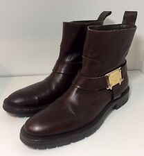 DOLCE & GABBANA Brown Leather Buckle Strap Biker Boots 7.5 / 8 / 41.5 / 42