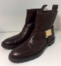 DOLCE & GABBANA Brown Leather Buckle Strap Biker Boots 7.5 / 8 / 41.5 / 42