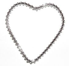 M794 Heart 50mm Silver-Finished Wire-Wrapped Jewelry Design Component 10pc