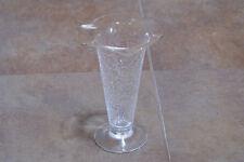 ELEGANT Crackle Glass Vase Glassware Clear Shabby Chic Decor Ruffle Top Folk Art