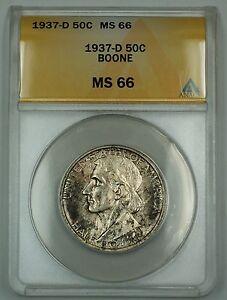 1937-D Daniel Boone Commem. Silver Half Dollar Coin ANACS MS-66 Toned Coin DGH