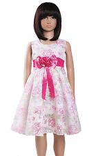 Rosa para Niña Vestido Fiesta Verano Floral de 2-7 Años