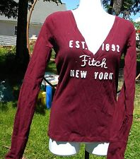 ABERCROMBIE & FITCH LADIES MAROON LONG SLEEVE SHIRT SZ SMALL EST.1892 FITCH NY