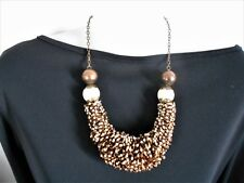 Brown, Cream and Gold Beaded Statement Necklace