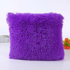 Fluffy Square Plush Pillow Cases Sofa Throw Cushion Cover Soft Living Room Decor