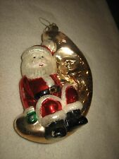 VINTAGE MERCURY GLASS SANTA CLAUS AND MOON CHRISTMAS ORNAMENT