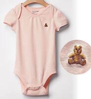 Gap Baby girl pink bear embroidery shirred short sleeve bodysuit