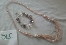 bead necklace and bracelet Stunning peach faceted ad glass