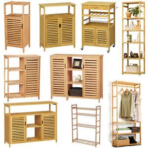 VIAGDO® Sideboard Bambus Kommode Küchenschrank Aufbewahrungsschrank Badschrank