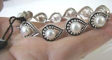"Sterling Silver Honora Pearl Bracelet Ball Bead Link 33 Grams Plus Tags 7.5"""