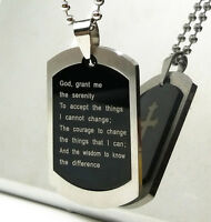 Serenity Prayer Necklace Cross Design 316 Silver Stainless Steel Dog Tag Pendant