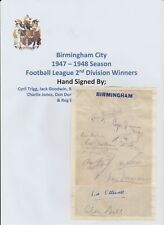 BIRMINGHAM CITY 1947-1948 2ND DIV CHAMPS RARE ORIG HAND SIGNED PAGE 10 X SIGS