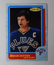 1986-87 OPC O-Pee-Chee Brian Sutter Box Bottom Blank Back Hand Cut