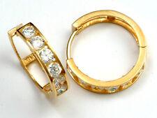 14K Solid yellow Gold Huggie Hoop Earrings 3-2y Cubic Zirconia