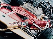 Graham Hill 90x70cms limited edition  F1  art print by Colin Carter