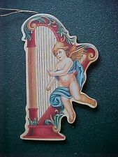 Vintage Miniature Angel with Harp Christmas Ornament