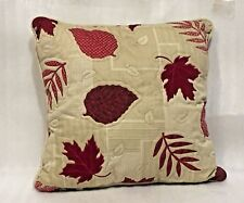HARVEST KOHL'S Accent Throw PILLOW  FALL LEAVES QUILTED  POLY FIBER 17 SQUARE