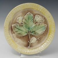 ANTIQUE MAJOLICA TREE LEAF AND FLOWERS PLATE