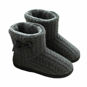 Women Floor Shoes Short Plush Cotton Padded Warm Indoor Cashmere Bow Ankle Boots