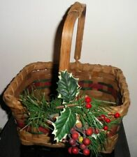 Vintage Rustic Christmas Wicker Gift Basket Home Decor Arched Movable Handle