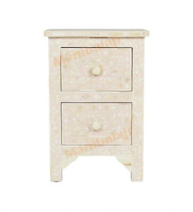 Bone inlay, bedside table nightstand side stand decor table handmade Blush Pink