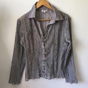 Un Deux Trois Ladies Shirt Top Blouse Size Eur 44 Grey Long Sleeve Lace Up Sheer