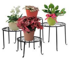 4 in 1 Pot Plant Stand Suit Black Metal Flower Rack Decor Indoor Balcony Garden
