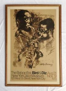 Large Vintage LEROY NEIMAN Bebop Era Bird & Diz Poste. New York Jazz Museum 1973