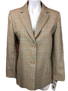 NWT Women's Vintage Pendleton 2 Piece Beige Embroidered Jacket Skirt 8 Wool -36