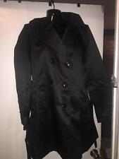 EBZA BLACK HOODED WOMENS TRENCH COAT SIZE: LARGE  NEW WITH TAGS