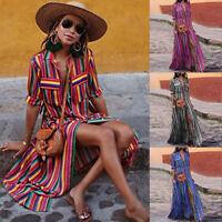 Ladies Women Button Striped Casual Loose Boho Long Maxi Dress Boho Shirt Dresses