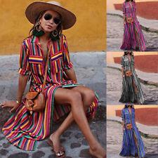 New Sale Ladies Women Button Striped Loose Boho Long Maxi Dress Boho Shirt Dress