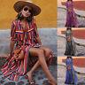 New Sale Women Button Striped Loose Boho Long Maxi Dress Boho Shirt Dress CHEN