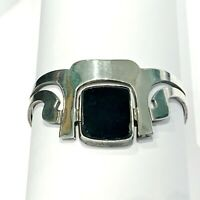 Taxco Mexico Sterling Silver 925 Stack Layer Modernist Wide Onyx Cuff Bracelet
