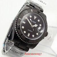 Black Automatic Men's Watch With Date Window PVD Watch Case MINGZHU 2813