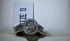 9CT Gold 50pt 1/2ct Diamond Baguette & Round Stone Ring UK Size: O