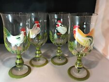 4 CRYSTAL Hand Painted CHICKEN ROOSTER Water Tea Stemmed Goblets Glasses NEW