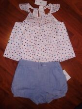 12 18 M BABY GAP Red Star Top 4th OF JULY Americana Blue Denim Bubble Shorts NWT