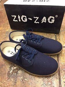 Zig Zag Wino Shoes-Navy Blue Lace Up- 7201NV