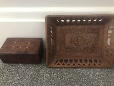 More details for small vintage indian inlaid wooden box and carved wood tray