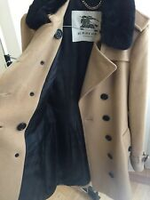 Women's Burberry Wool cashmere trench Coat Fur Collar Worn Once - with Receipt