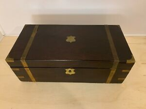 ANTIQUE WOOD WRITING BOX   (2) INK WELL BOTTLES   BRASS APPOINTMENTS   NEED WORK