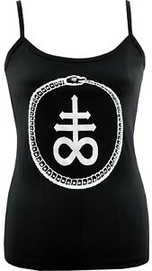 WOMENS LEVIATHAN CROSS STRAP VEST TANK TOP SATAN SATANIC GOTH GOTHIC SNAKE CULT