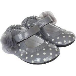 NIB Robeez Shoes Mini Shoez Gracie Patent Leather Gray White 3-6m 2